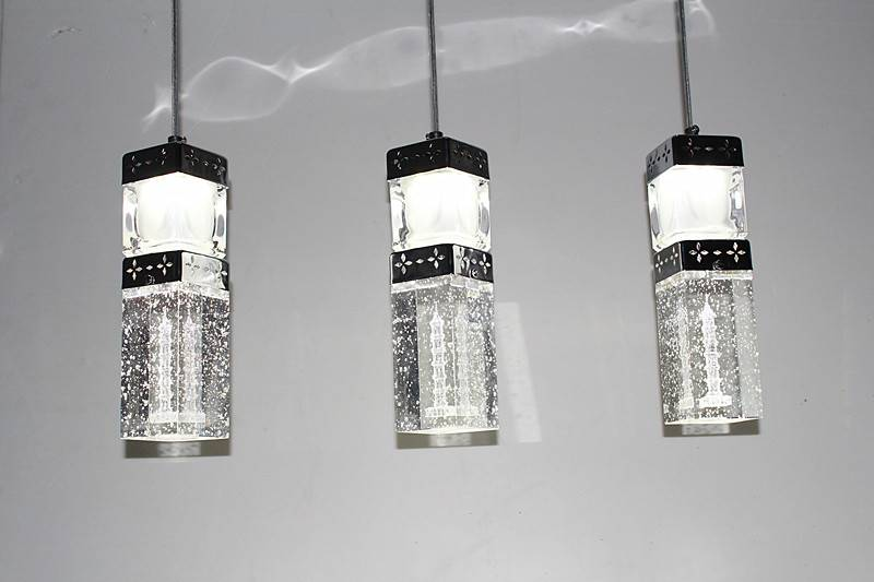 2014 latest design residential light crystal column pendant lamp