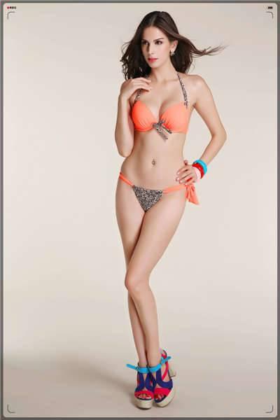Sexy girl's solid color top withstring around the neck,split bottom bikini swimwear