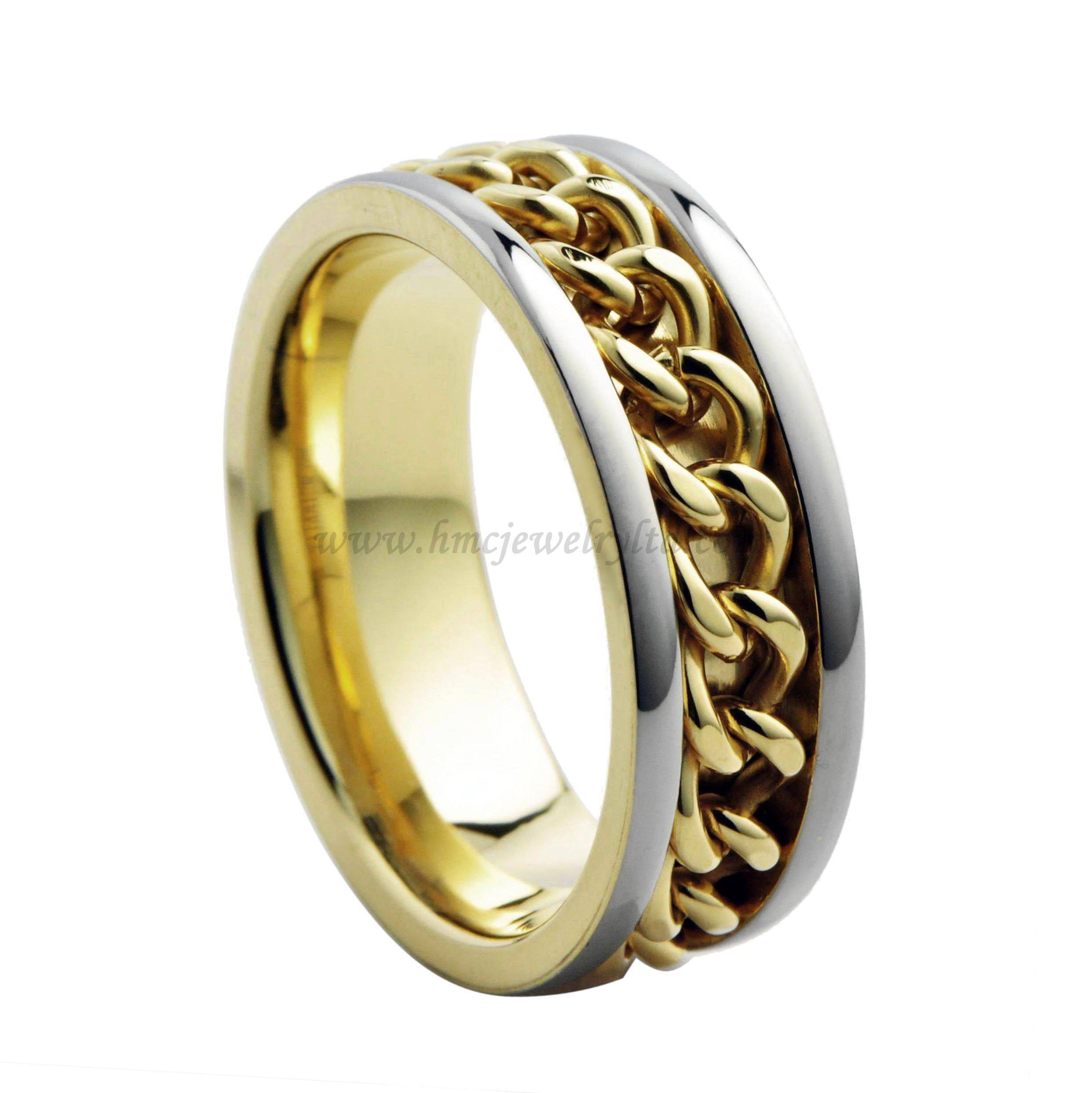 "Gold "" Chain"" Plated Titanium Steel Ring, Wedding Rings Without Stones"