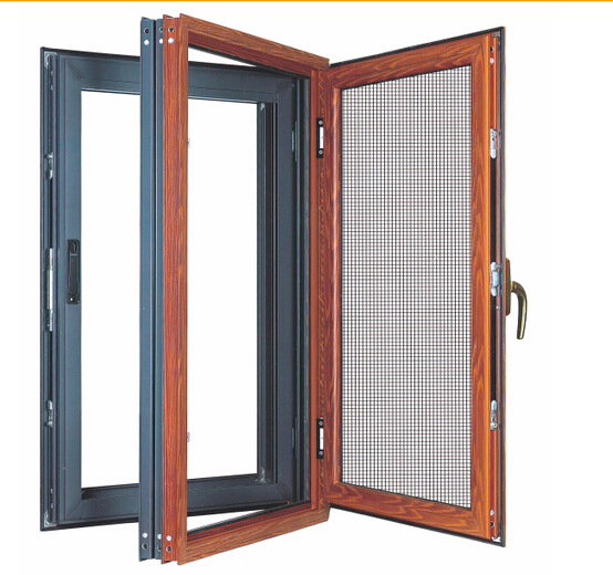 aluminium swing window integrated with screen with double glazing