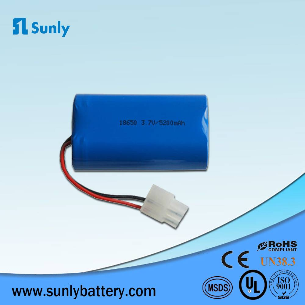 1S2P 5200mAh li ion 18650 battery pack 3.7V rechargeable battery