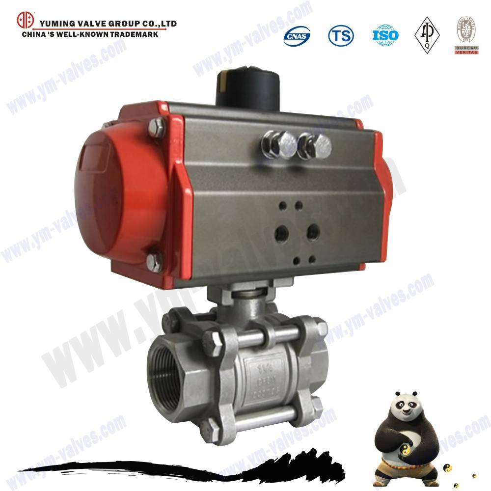 pneumatic 3pc thread stainless steel ball valve