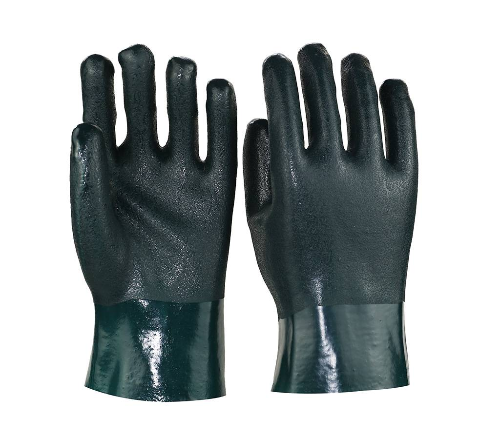 27cm dark green sandy finished pvc safety gloves