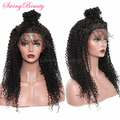 360 Full Swiss Lace Frontal Wigs Natural Human Hair Kinky Curly