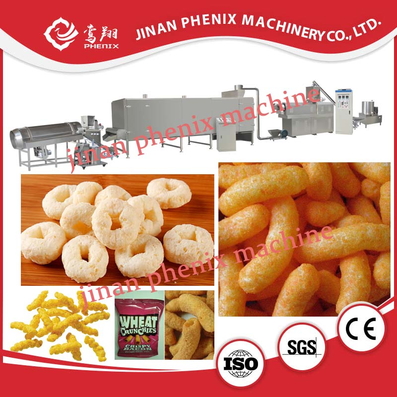 puffing chips snack pellet food twin screw extruder