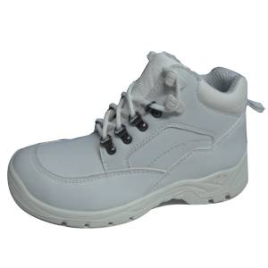 White Leather Antistatic Safety Shoes