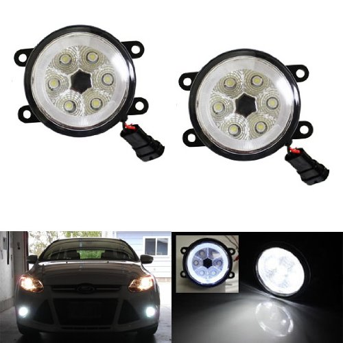 Led Car Fog Lamp Super Bright 1800LM 18W DRL Angel Eye Light Daytime Running Lights