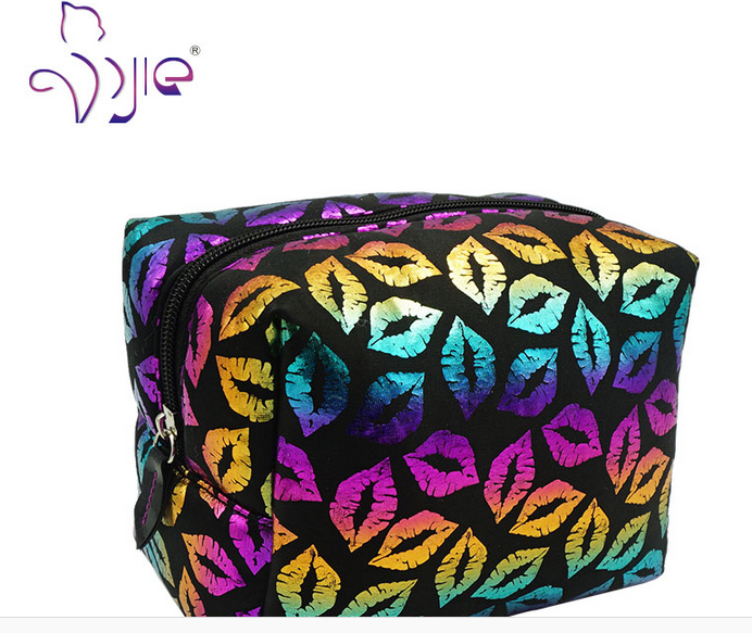 Lip New Women Soft Makeup Cosmetic Bag Case with Sponge