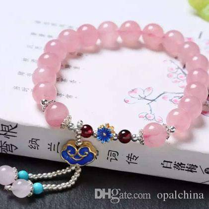 2016 NEFFLY Pink Madagascar Powder Crystal 6mm European Asian Style Beaded Strands Crystal Bracelets