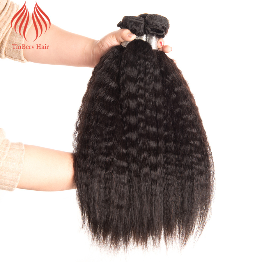 Tinberv Brazilian Kinky Straight 1PC Natural Color Virgin Hair Bundles 100% Human Hair Weaving
