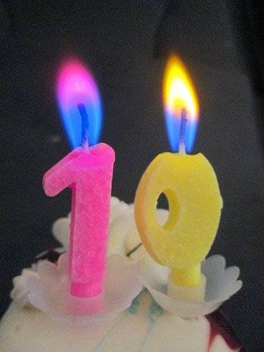 Colorful flame number birthday candle