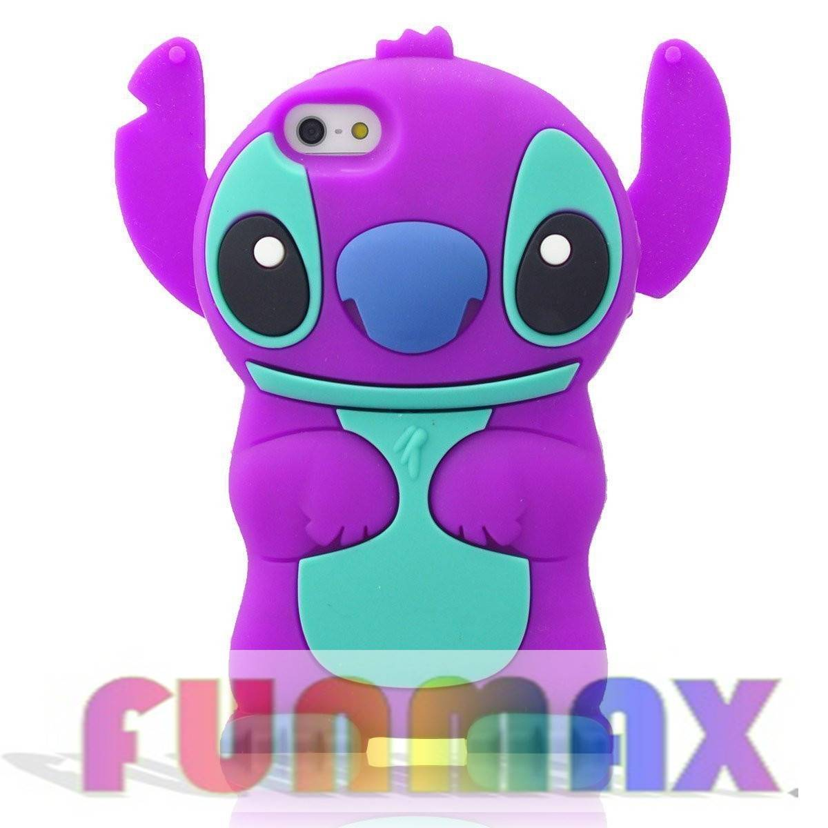 3D Cartoon Lovely Stitch with Movable Ears Design Silicone Case for Apple iPhone 5C (Purple)