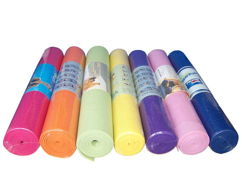 Different Colors Non Slip PVC Yoga Mat with Shrink Film Package