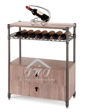 Steel-Wood Cabinet Rack, Houseware Storage