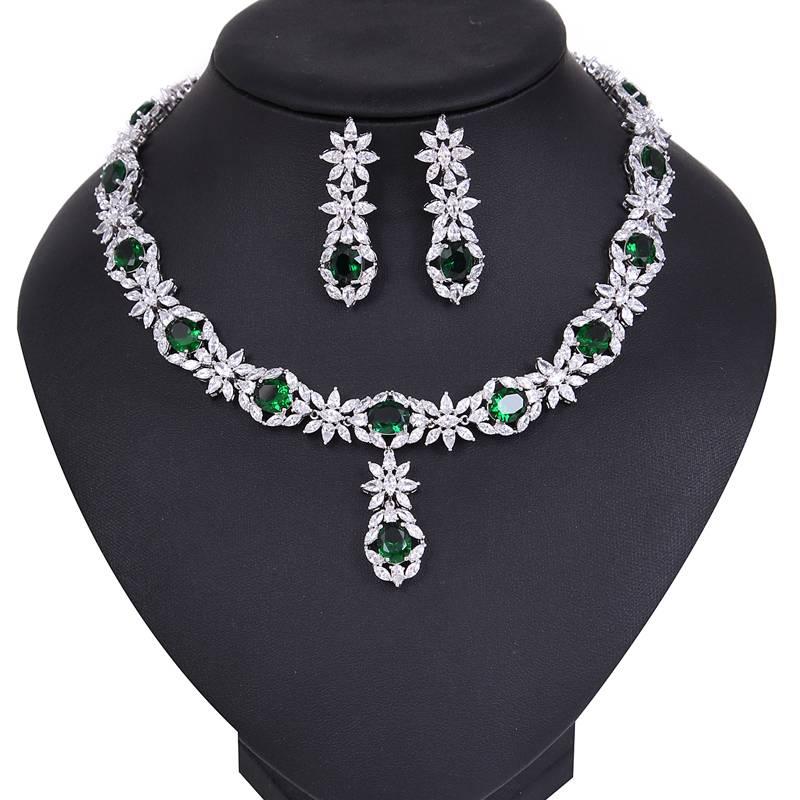 2016 Ruby Peridot Crystal Custom Made Necklace Earrings Set for Wedding Wear Jewelry Set