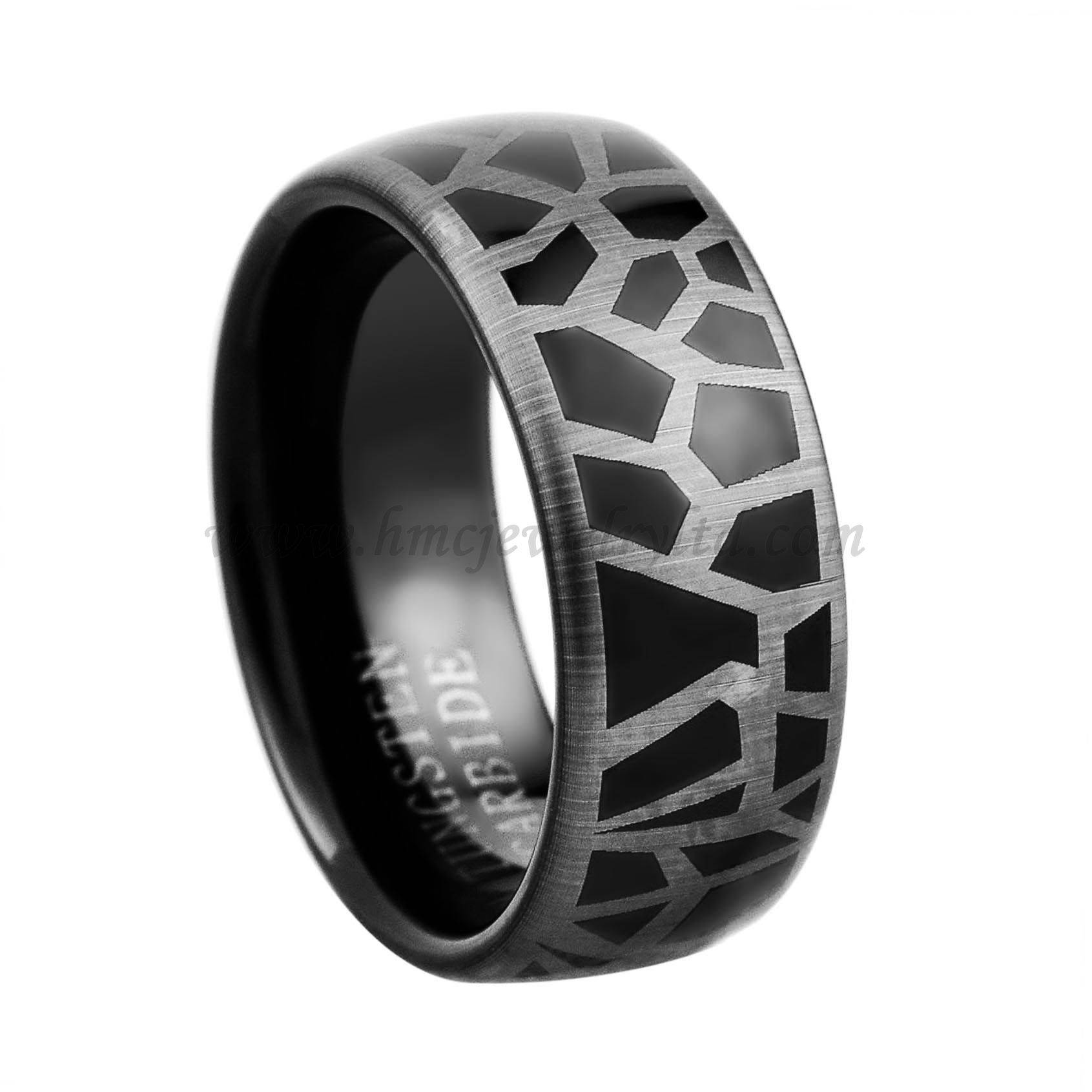Black Leopard Pattern Tungsten Ring, Black Plated Tungsten Carbide Mens Ring