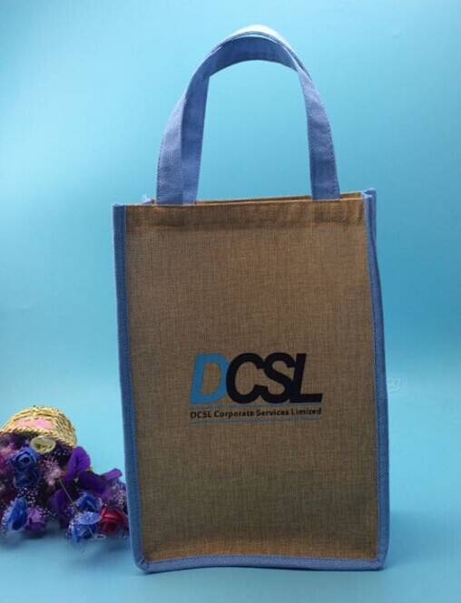 eco recyclable jute tote shopping bag with customized logo printed