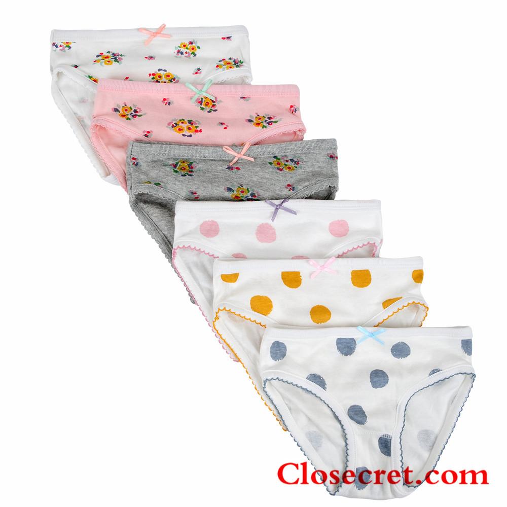 Closecret Kids Comfy Cotton Toddler Underwear Little Girls' Assorted Briefs Panties with Bow-knot (P