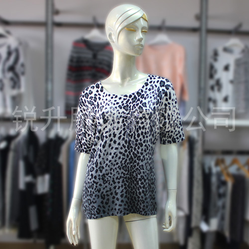 Summer New Fashion Leopard Print Top Sweater Womens Short Sleeve Leopard Print Fabric Knit Pullover