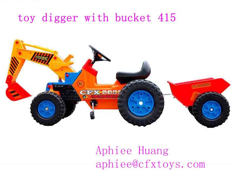 kid ride on car pedal excavator with trailer 415