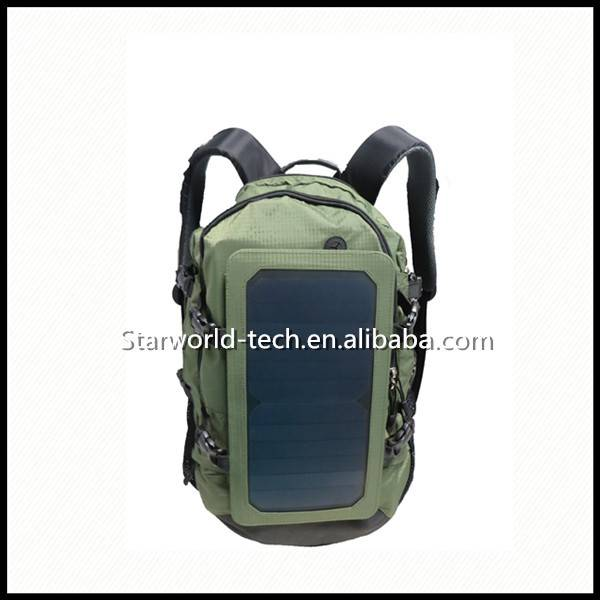 Nylon Material Solar Power Backpack with Strong Power Bank Charger 10000mAh Solar panel