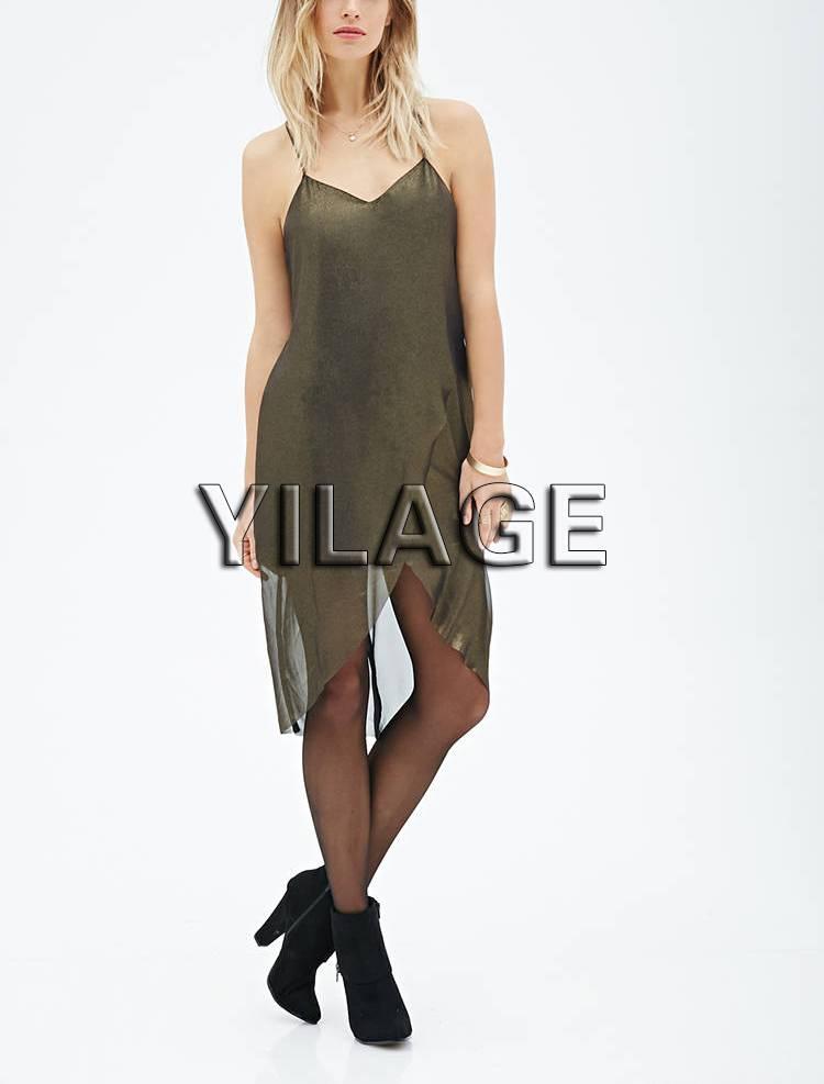 2015 New Style Metallic Tulip Dress Asymmetrical Hem Women Chiffon Dresses L1880