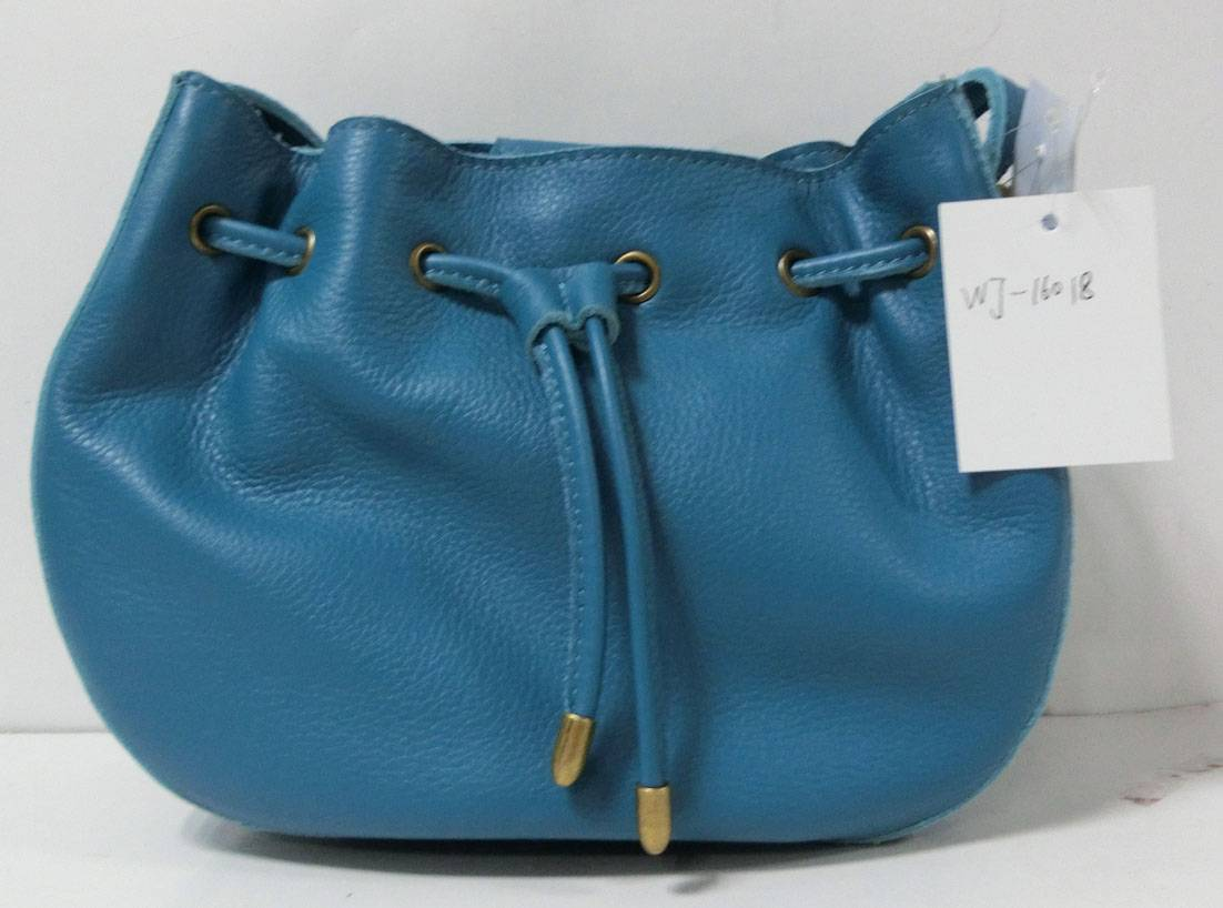 Blue bucket bag genuine leather handbag