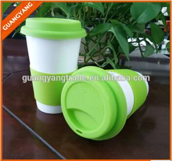 promotional beautiful small capacity PP travel mug for coffee and tea with silicone lid and sleeve