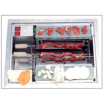 JADE charcoal fire & gas roaster with driving shafts