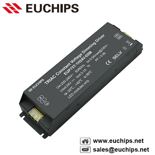 200-240VAC 75W 1 channel triac constant voltage led dimmable driver EUP75T-1H24V-0SM