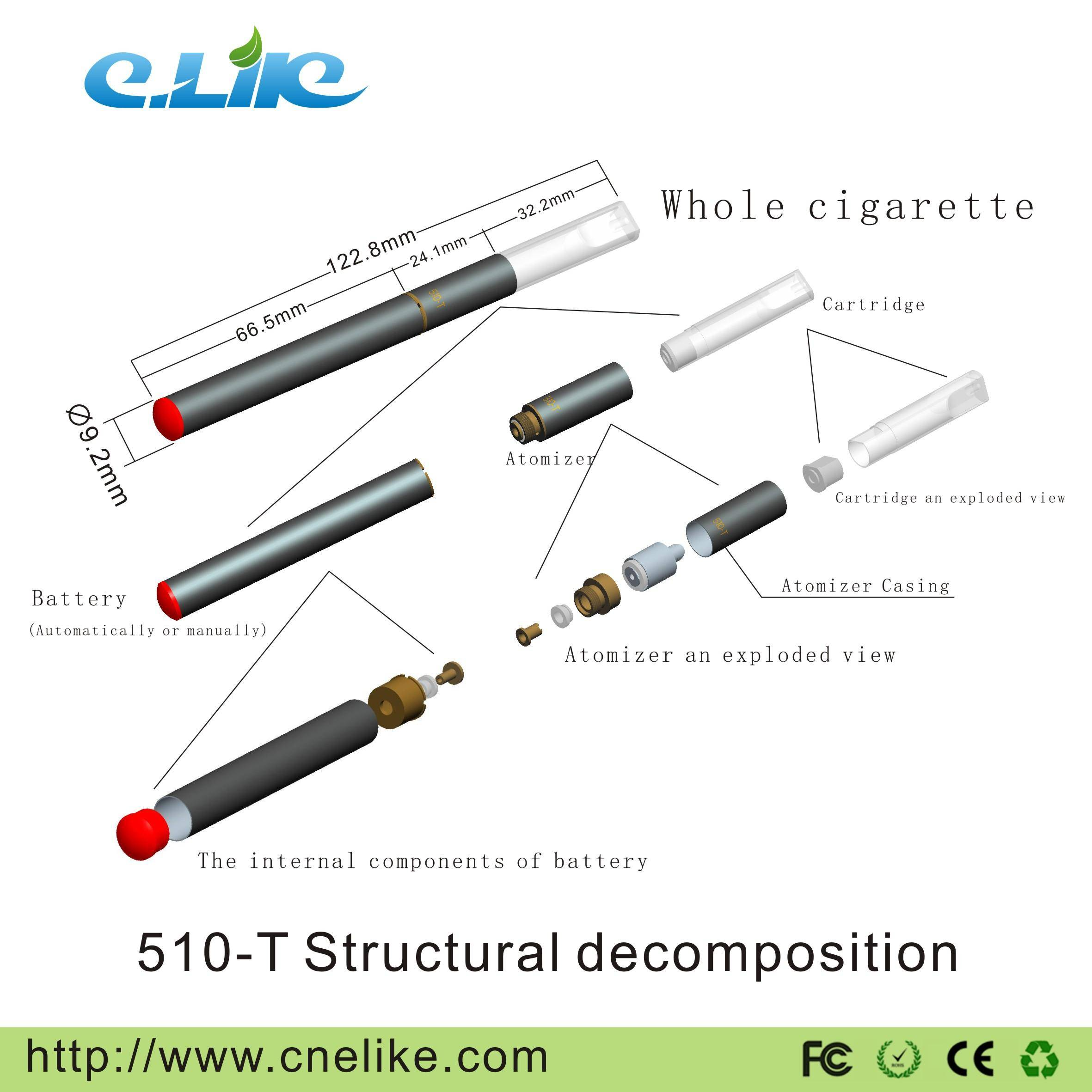 CE/RoHS 510-T Clearomizer Electronic Cigarette with Auto/Manual Battery