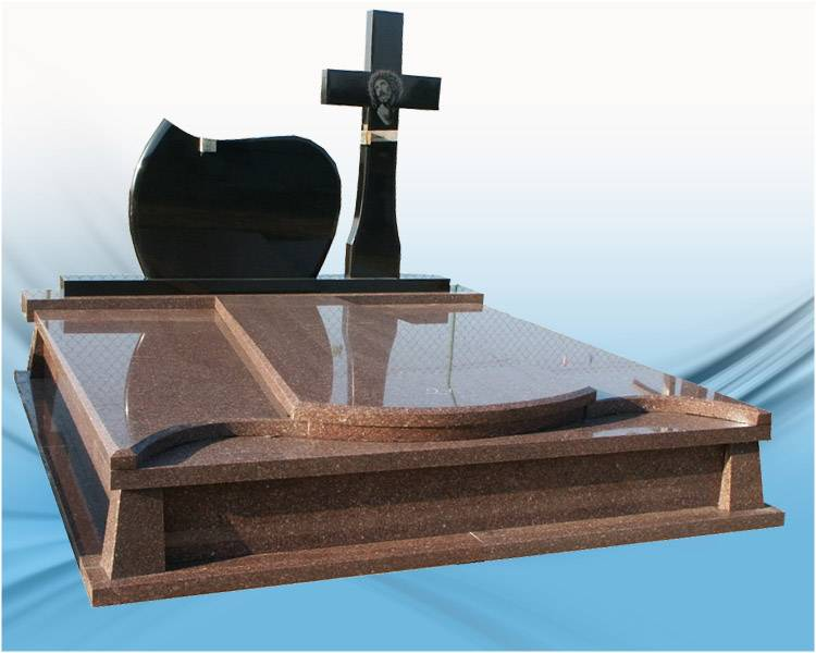 Modern design heastone granite monument with cross