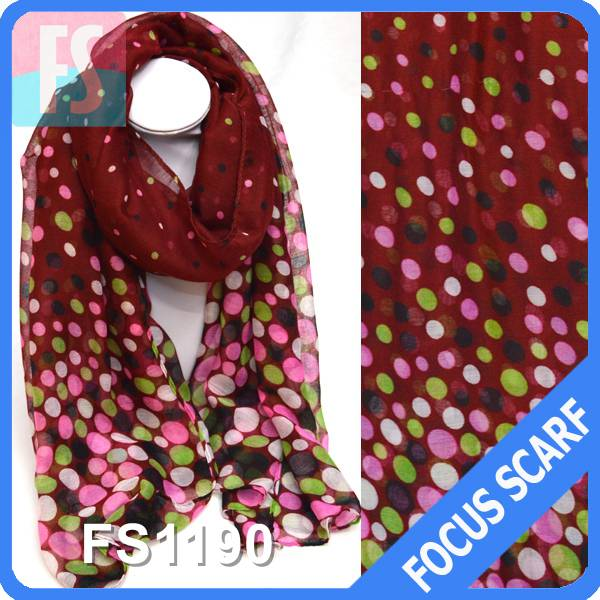 100% polyester polka dot printed long women scarf