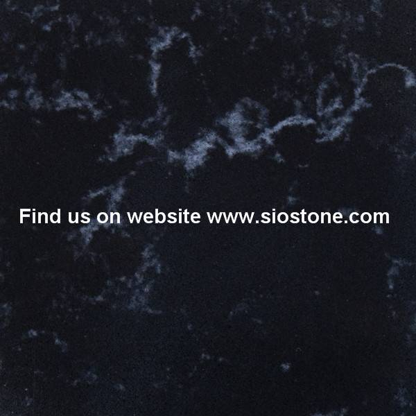 Black Man-made Quartz Stone with Random Pattern