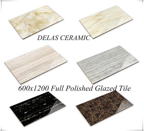 Foshan Hotel Hall Lobby Big Size Shiny Gres Porcellanato Vitrified Ceramic Floor Wall Tile 600X1200