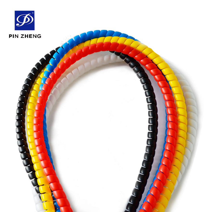 custom colorful cambered plastic hydraulic hose protection spiral