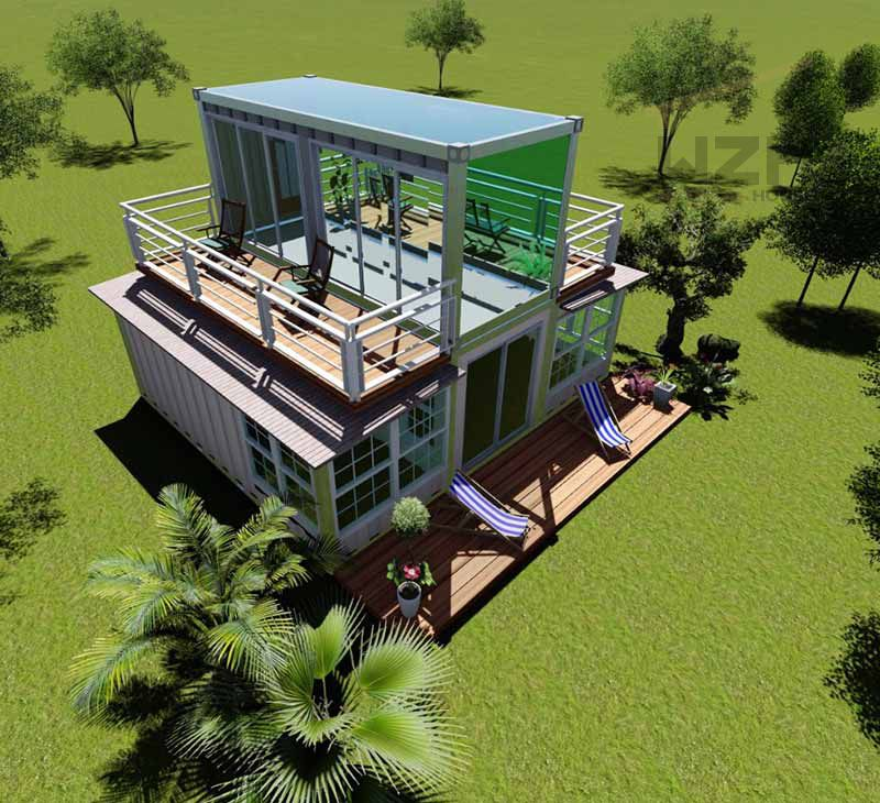 2 story Custom size chinese expandable portable prefab expandable container house