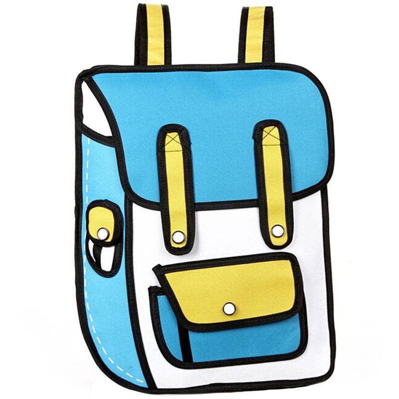 2015 New Arrival 3D cartoon Bags, 2D comic Nylon Backpacks, Kids School Bag