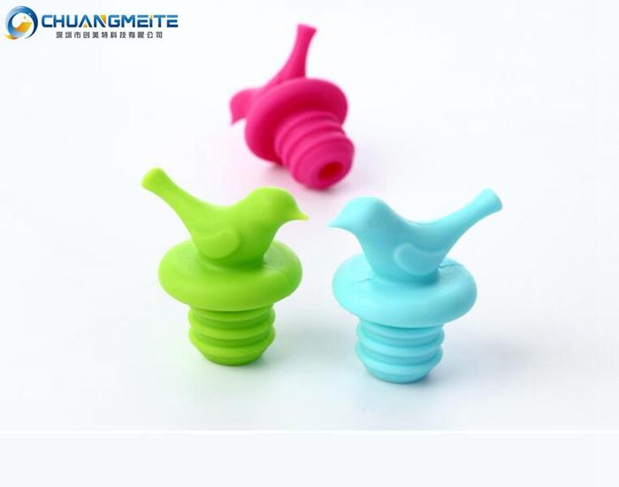 birds-shaped bottle plug environmental health non-toxic natural silicone bottle cap cork stopper