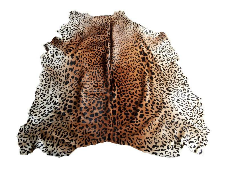 Animal Printed On Genuine Cowhide Leather Furs.