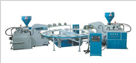FULL-AUTOMATIC TYPE OF DOUBLE-COLOR PLASTIC SHOES INJECTION MOULDING MACHINE