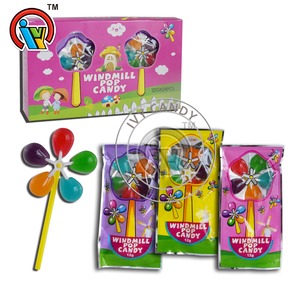 Hot selling colorful fruits windmill lollipop