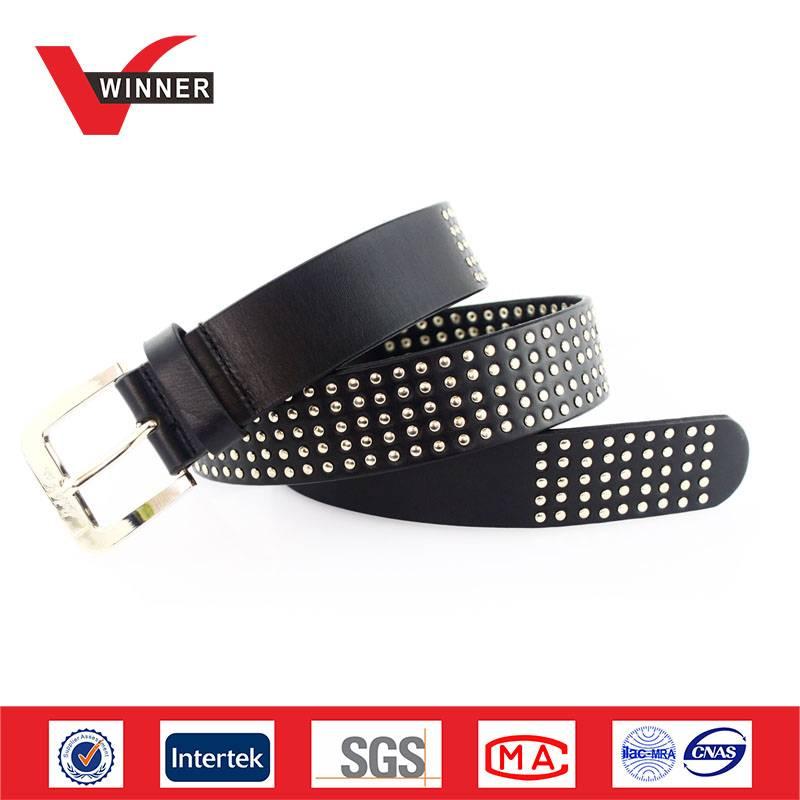hot sale cow hide leather metal rivets belts