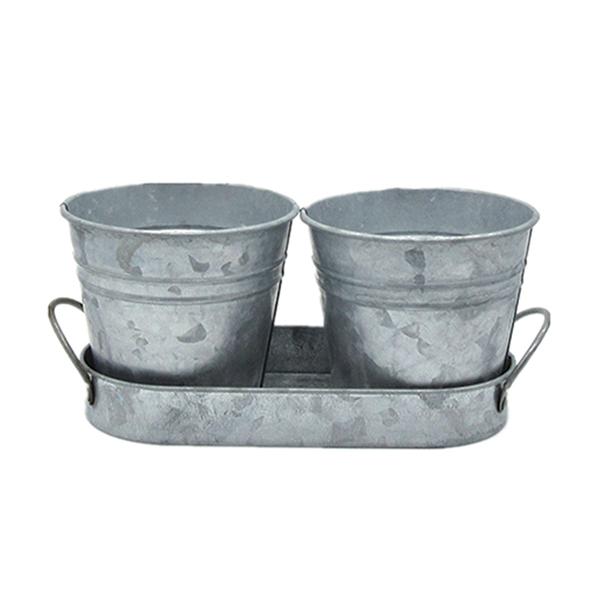 galvanized iron metal flower pot 2-3 pots in one