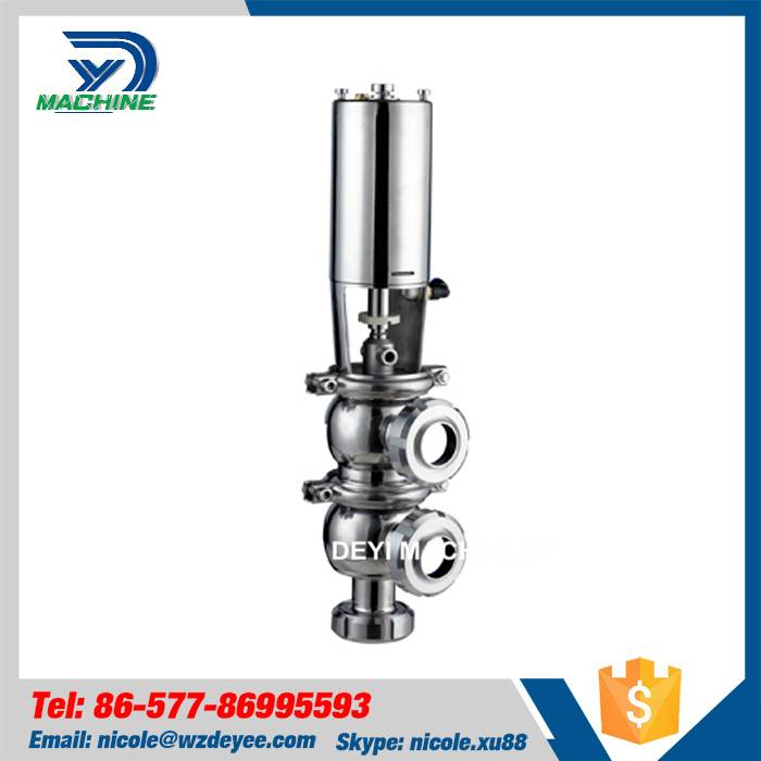 SS304 Pneumatic Divert Valve with Tri clamp Ends