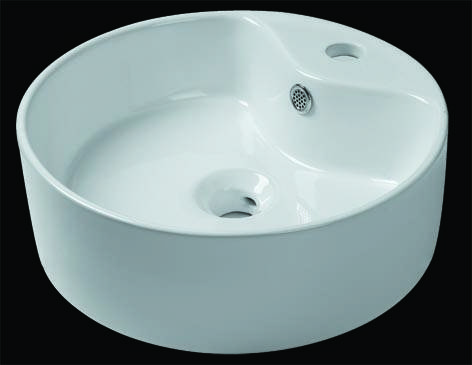 White Cylindrical with Faucet hole Ceramic Wash Basin