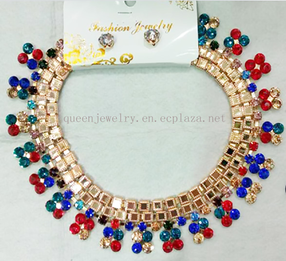 Classic floral rhinestone jewelry for women bridal fashion jewelry set man-made diamond collar