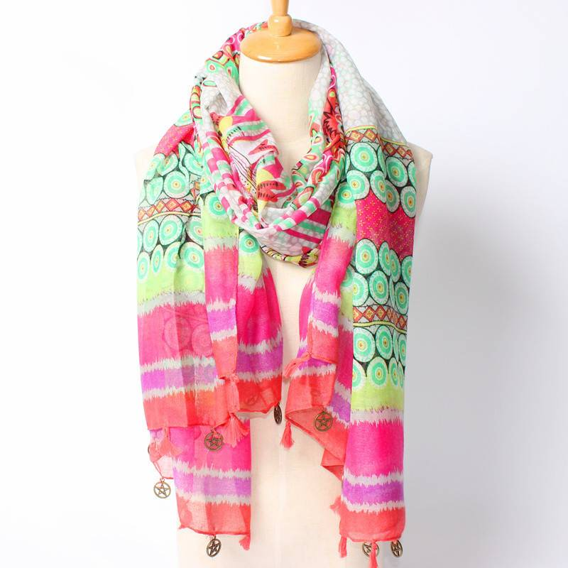 Bohemia style Multi color Geometry dot Long Scarf Fashion scarf with tassel