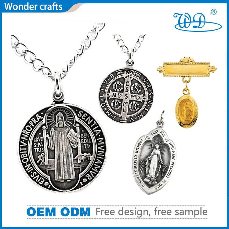 Pin-Style Diecasting Heart Shaped Dyed Nickel Plated Tungsten Indium Pure Brass Catholic Medals