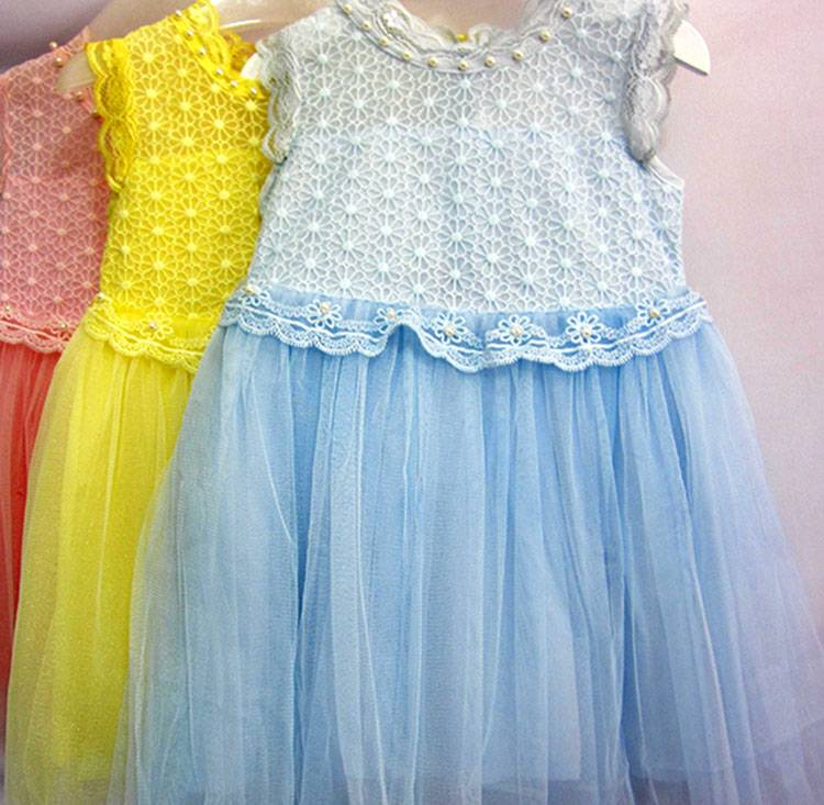 Fancy Beaded Party Dresses for Children Kids Wear Lace Girls Dress